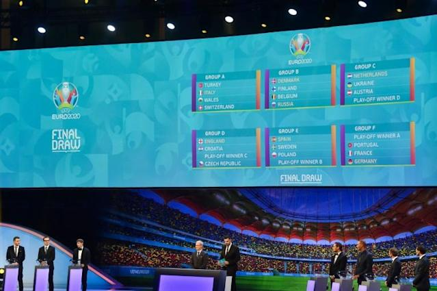 The draw for Euro 2020 in Bucharest saw France, Germany and Portugal come out in the same section (AFP Photo/Daniel MIHAILESCU)