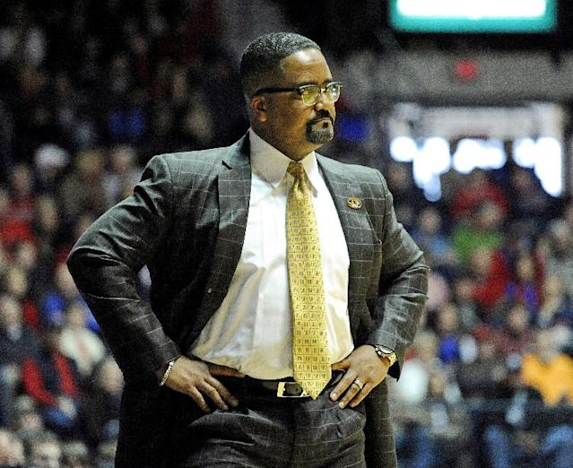 Missouri head coach Frank Haith stands on the sidelines during the first half of an NCAA college basketball game against Mississippi in Oxford, Miss., Saturday, Feb. 8, 2014. (AP Photo/Thomas Graning)
