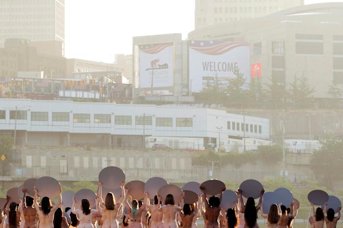 """<p>Women pose nude for photographer Spencer Tunick's art installation """"Everything She Says Means Everything"""" near the location of the Republican National Convention in Cleveland, Ohio, on July 17, 2016. (Photo: Lucas Jackson/Reuters)</p>"""