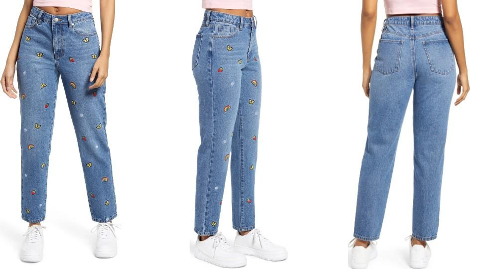 BP. Mixed Embroidery Mom Jeans - Nordstrom, $29 (originally $49)