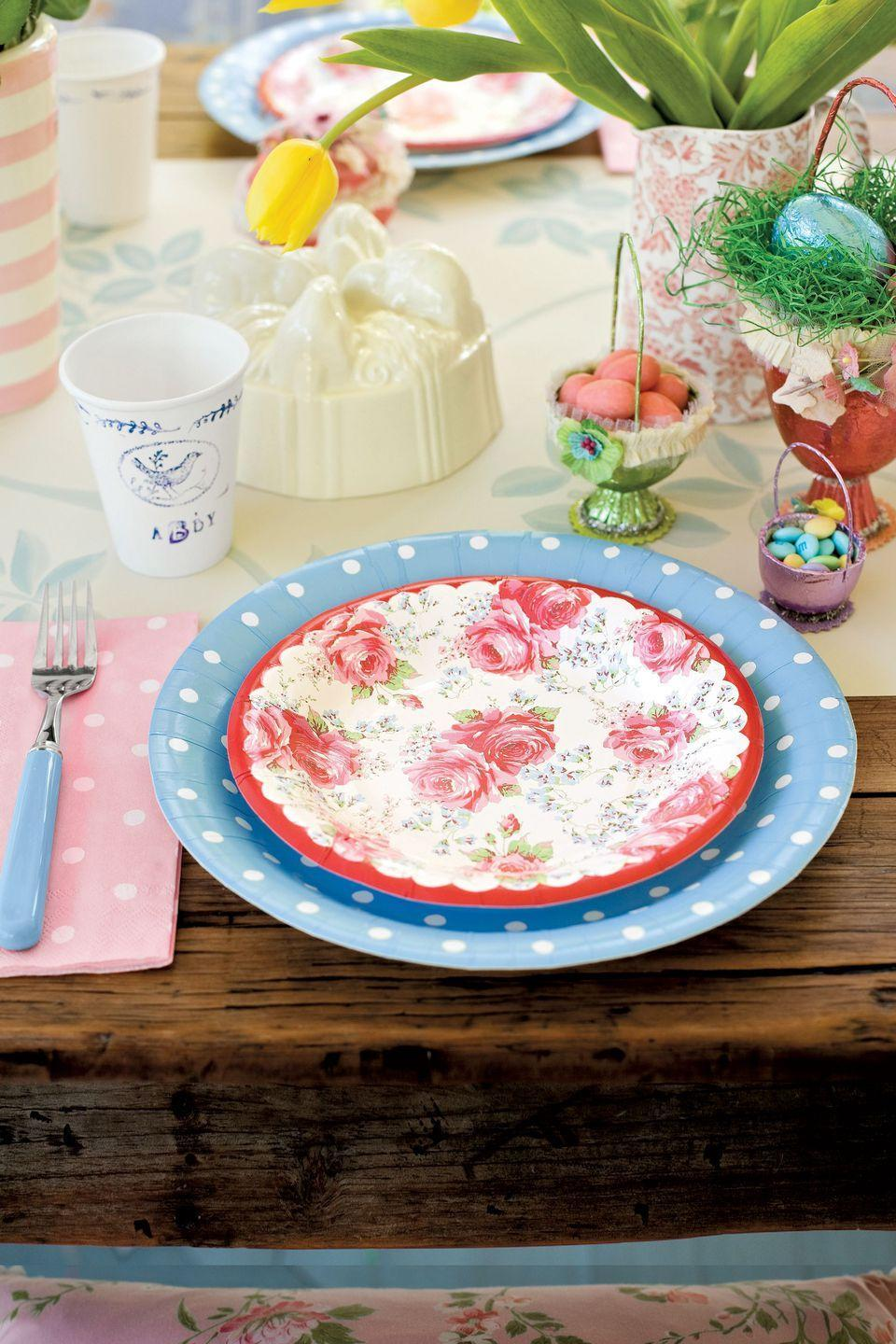 """<p>Glam up the kids' table with a plate combo so pretty you'll hardly believe they're paper.</p><p><a rel=""""nofollow noopener"""" href=""""https://www.amazon.com/Disposable-Dinnerware-Set-Supplies-Birthdays/dp/B077G39MTK/"""" target=""""_blank"""" data-ylk=""""slk:SHOP PAPER PLATES"""" class=""""link rapid-noclick-resp"""">SHOP PAPER PLATES</a></p>"""