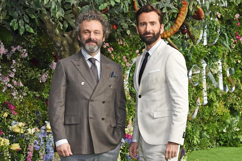 "LONDON, ENGLAND - MAY 28: Michael Sheen and David Tennant attend the World Premiere of new Amazon Original ""Good Omens"" at the Odeon Luxe Leicester Square on May 28, 2019 in London, England. (Photo by David M. Benett/Dave Benett/WireImage)"