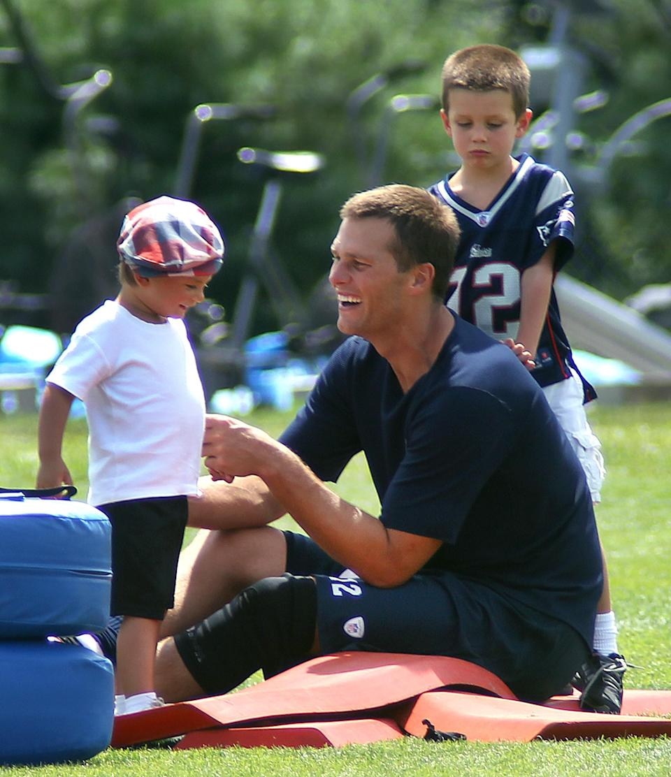 Tom Brady is being slammed on social media for kissing his son on the lips. (Photo: Getty Images)