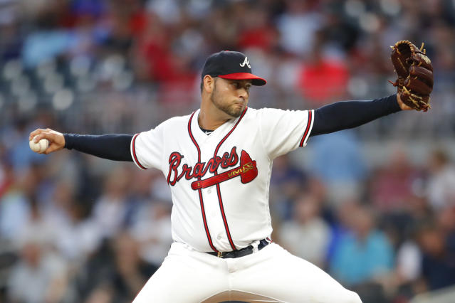 Atlanta Braves starting pitcher Anibal Sanchez delivers in the first inning of the team's baseball game against the St. Louis Cardinals, Tuesday, Sept. 18, 2018, in Atlanta. (AP Photo/Todd Kirkland)