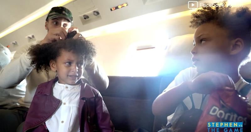 332cb058568 Daddy  Do! Watch Steph Curry Adorably Style Daughter Ryan s Hair ...