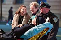 <p>Selena Gomez and Martin Short share a laugh while on the set of <em>Only Murders in the Building</em> in N.Y.C. on Tuesday.</p>