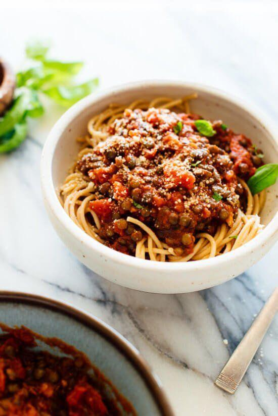 """<p>This perfect weeknight meal is just as comforting and protein-packed as the meat-based classic, and higher in filling fiber.<br></p><p><a class=""""link rapid-noclick-resp"""" href=""""https://cookieandkate.com/hearty-spaghetti-with-lentils-marinara/"""" rel=""""nofollow noopener"""" target=""""_blank"""" data-ylk=""""slk:GET THE RECIPE"""">GET THE RECIPE</a><br></p><p><em>Per serving: 355 calories, 4 g fat (0 g saturated), 66 g carbs, 9 g sugar, 861 mg sodium, 10 g fiber, 14 g protein</em></p>"""