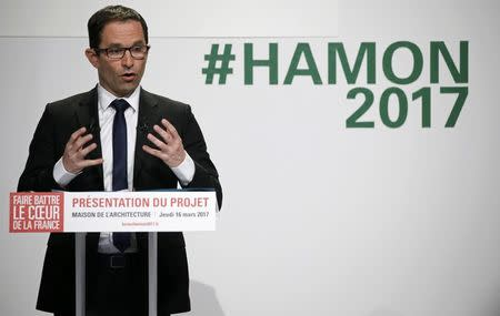 French Socialist party 2017 presidential candidate Benoit Hamon attends a news conference to present his election manifesto in Paris