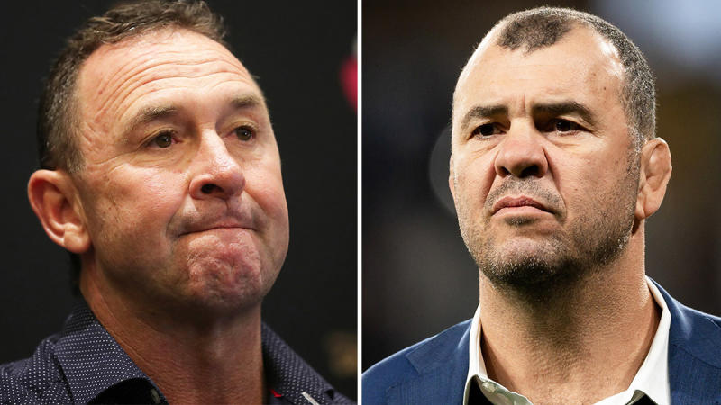 Michael Cheika (pictured right) was baffled at England's invitation to invite NRL coach Ricky Stuart (pictured left) to camp.(Getty Images)