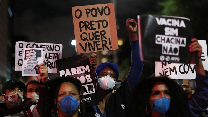 Black movement activists protest against racism and police violence in Sao Paulo