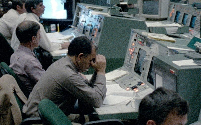 The scene in mission control following the Challenger explosion, as seen Challenger: The Final Flight - Nasa/Netflix