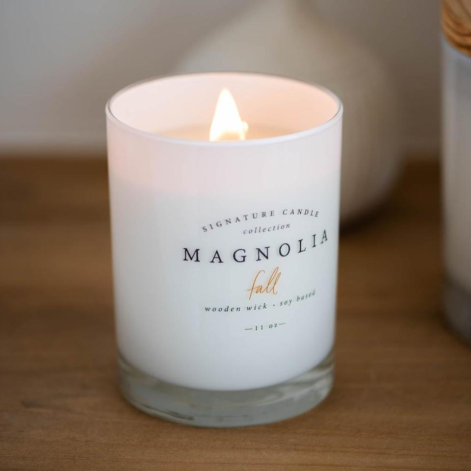 """<p><strong>Fixer Upper</strong> fans and Fall enthusiasts alike should add the <a href=""""https://www.popsugar.com/buy/Magnolia-Fall-Candle-490847?p_name=Magnolia%20Fall%20Candle&retailer=shop.magnolia.com&pid=490847&price=28&evar1=casa%3Aus&evar9=46607404&evar98=https%3A%2F%2Fwww.popsugar.com%2Fhome%2Fphoto-gallery%2F46607404%2Fimage%2F46609893%2FMagnolia-Fall-Pumpkin-Chai&list1=fall%2Chome%20decor%2Ccandles&prop13=mobile&pdata=1"""" rel=""""nofollow"""" data-shoppable-link=""""1"""" target=""""_blank"""" class=""""ga-track"""" data-ga-category=""""Related"""" data-ga-label=""""http://shop.magnolia.com/collections/candles-diffusers/products/magnolia-fall-candle?variant=8646709772400"""" data-ga-action=""""In-Line Links"""">Magnolia Fall Candle</a> ($28) to their scent lineup ASAP. This candle, which comes from Joanna Gaines and Chip Gaines's Magnolia Market, smells of delicious pumpkin chai.</p> <p><meta itemprop=""""rating"""" content=""""5""""> </p> <div class=""""review-rating"""" data-review-rating=""""5""""> <i class=""""star-on""""></i><i class=""""star-on""""></i><i class=""""star-on""""></i><i class=""""star-on""""></i><i class=""""star-on""""></i><br> </div>"""