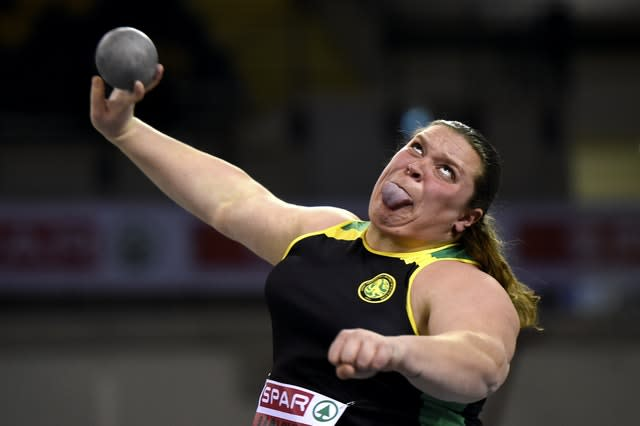 British athlete Sophie McKinna competes in the shot put during day two of the SPAR British Athletics Indoor Championships in Glasgow. McKinna had to settle for second place at the event after her throw of 17.39m was bettered by Amelia Strickler's personal best of 17.97m. McKinna would gain revenge later in the year, retaining her British champion crown by finishing ahead of Strickler at the British Athletics Championships