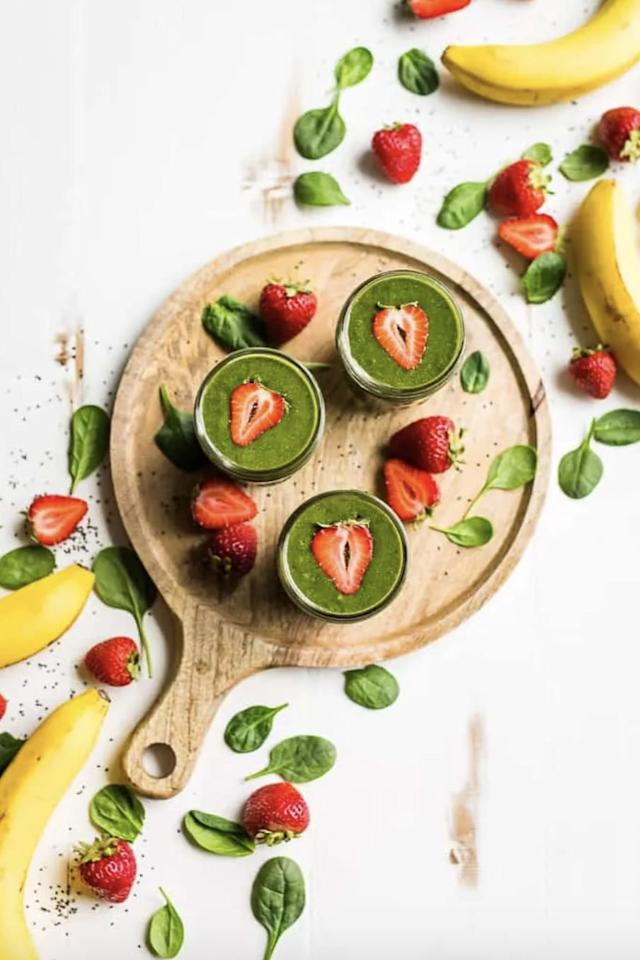 """<p>Get your daily dose of nutrients in one sitting when you make this green smoothie. Feel free to add as much or as little spinach as you want - the strawberries make it taste supersweet!</p> <p><strong>Get the recipe:</strong> <a href=""""https://getinspiredeveryday.com/food/strawberry-banana-green-smoothie/"""" target=""""_blank"""" class=""""ga-track"""" data-ga-category=""""Related"""" data-ga-label=""""https://getinspiredeveryday.com/food/strawberry-banana-green-smoothie/"""" data-ga-action=""""In-Line Links"""">strawberry banana green smoothie</a></p>"""