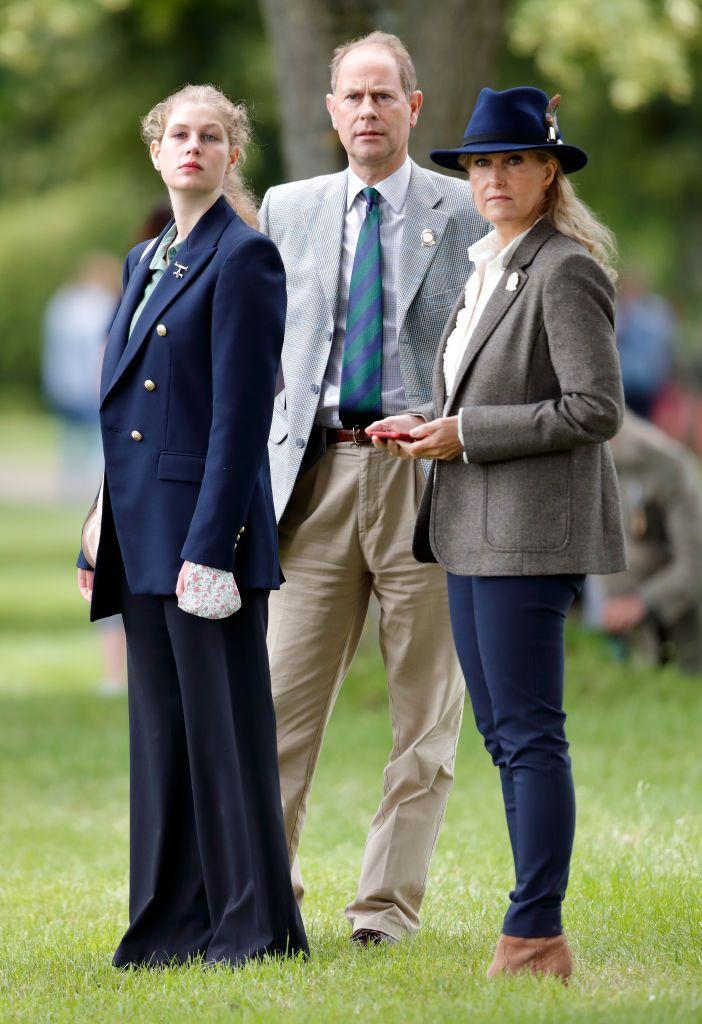 <p>Lady Louise Windsor, Prince Edward, and Sophie Countess of Wessex made a family affair of donning blazers to watch the carriage driving marathon at the Royal Windsor Horse Show in 2021. </p>