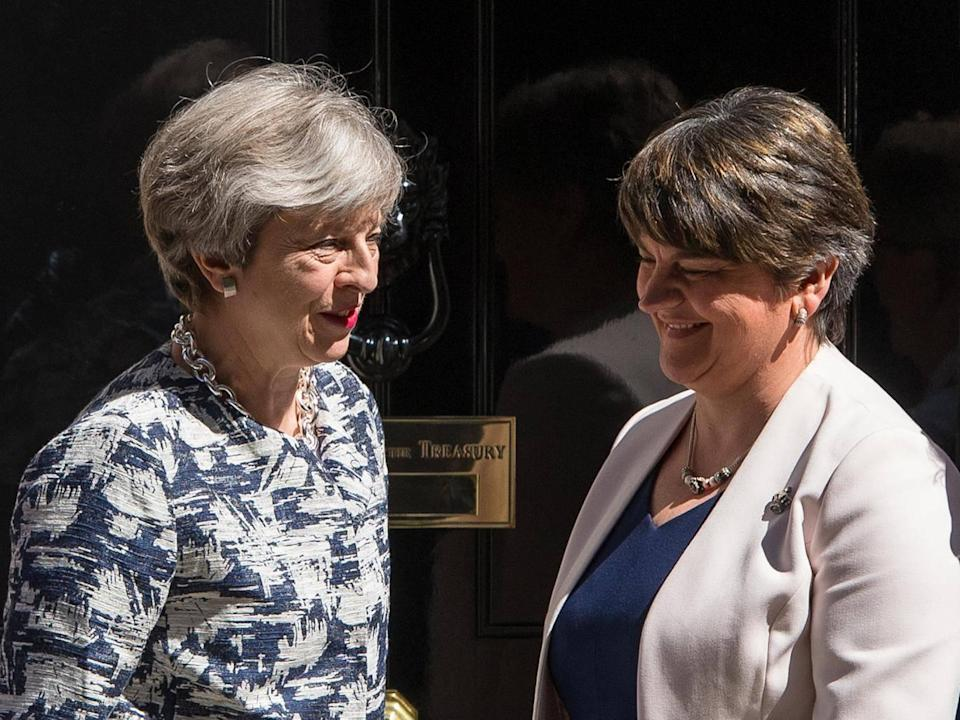 Theresa May relies on Arlene Foster's DUP for her commons majority after losing it at the general election she called (PA Wire/PA Images)