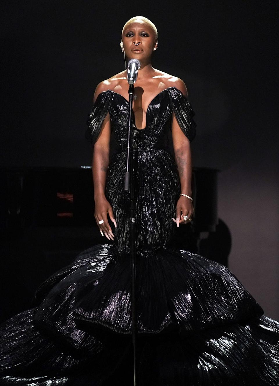 <p>Cynthia Erivo has the spotlight on Sept. 22 while performing on <em>The Tonight Show</em> in N.Y.C.</p>