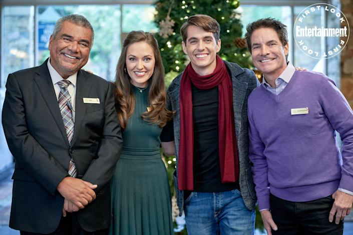 """<p><strong>Premieres: </strong>Nov. 28 at 6 p.m. ET/PT, Hallmark Channel</p> <p><strong>Stars:</strong> Laura Osnes, Kyle Selig, Pat Monahan, George Lopez</p> <p><strong>Contains:</strong> Christmas show in jeopardy, Train frontman Pat Monahan</p> <p><strong>Official description:</strong> """"To save her family hotel's Christmas show, talent booker Claire must ask for help from her ex-boyfriend Ryan, the lead guitarist of a now-famous band that fired her as their manager years ago.""""</p>"""