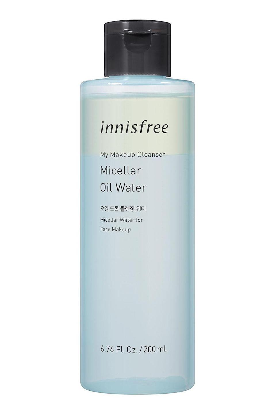 """<p><strong>Innisfree</strong></p><p>amazon.com</p><p><strong>$14.42</strong></p><p><a href=""""https://www.amazon.com/dp/B07X88QPQH?tag=syn-yahoo-20&ascsubtag=%5Bartid%7C10058.g.33863683%5Bsrc%7Cyahoo-us"""" rel=""""nofollow noopener"""" target=""""_blank"""" data-ylk=""""slk:SHOP IT"""" class=""""link rapid-noclick-resp"""">SHOP IT</a></p><p>K-beauty has seldom steered me wrong, and this is no exception—in fact, this is my favorite remover of all time. Give the bottle a good shake to mix the oil and water together, then apply the formula with a cotton pad. The oil helps to loosen even the heaviest mascara and foundation, and the micellar water lifts away the pigment so you're never left with those sad cheek streaks. </p>"""