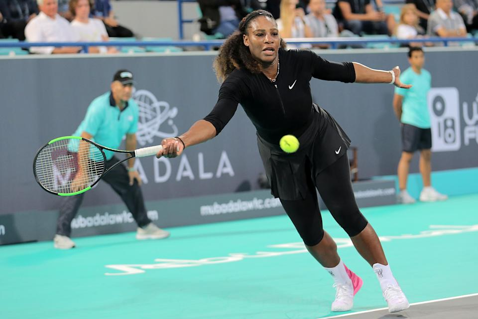 Serena Williams made her return to the tennis court in late December, less than four months after giving birth. (Getty)