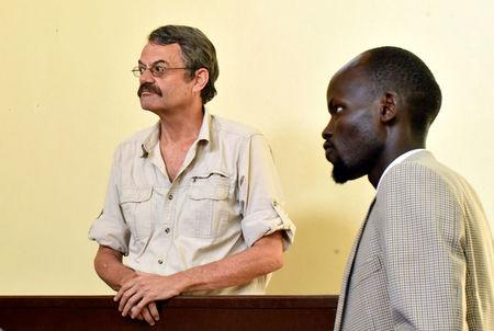 William John Endley, a South African national and an adviser to South Sudanese rebel leader Riek Machar, stands in the dock in the High Court in Juba