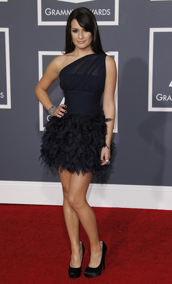 Lea Michele arrives at the 52nd Annual Grammy Awards held at Staples Center on January 31, 2010 in Los Angeles, California.