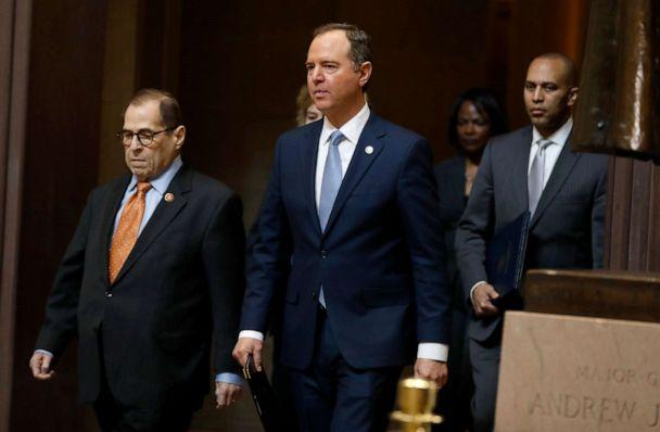 PHOTO: House Intelligence Committee Chairman Adam Schiff walks with Rep. Jerrold Nadler, Rep. Hakeem Jeffries and Rep. Val Demings at the Capitol in Washington, Jan. 16, 2020. (Julio Cortez/AP, FILE)