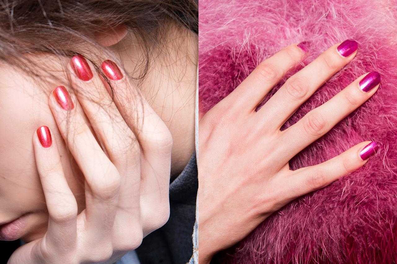 <p>Slightly frosted, slightly shimmery, slightly retro, the pink-toned nails of 2017 were a daily throwback to the '80s. </p>