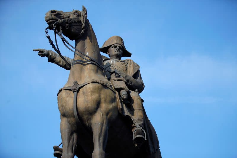 The statue of Napoleon I on a horse is seen in Montereau-Fault-Yonne