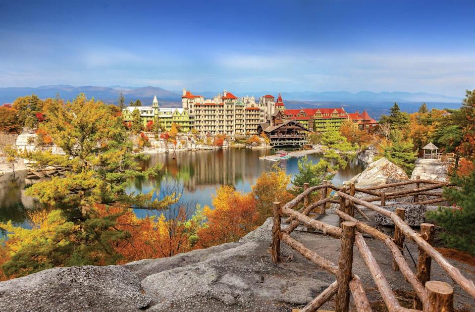"""<p><a href=""""https://www.cntraveler.com/hotels/united-states/new-paltz/mohonk-mountain-house-new-paltz?mbid=synd_yahoo_rss"""" rel=""""nofollow noopener"""" target=""""_blank"""" data-ylk=""""slk:This Victorian-style castle-resort-and-spa"""" class=""""link rapid-noclick-resp"""">This Victorian-style castle-resort-and-spa</a>, set on some 40,000 acres within New York's forested Shawangunk Mountains, has held staying power for more than 150 years—a mainstay of family weekend getaways from NYC. Little wonder, given the 265-room resort's rich roster of amenities and programming, which include an ice-skating pavilion, tennis courts, nine-hole golf course, show gardens, horse stables, indoor heated pool, and award-winning, nature-inspired spa (with features like a solarium and outdoor heated mineral pool). The property overlooks Lake Mohonk, a playground for seasonal boating, fishing, and swimming, while 85 miles of trails beckon for hiking, mountain biking, snowshoeing, cross-country-skiing, or even guided """"<a href=""""https://www.cntraveler.com/story/how-forest-bathing-turned-a-skeptic-into-a-tree-hugger?mbid=synd_yahoo_rss"""" rel=""""nofollow noopener"""" target=""""_blank"""" data-ylk=""""slk:forest bathing"""" class=""""link rapid-noclick-resp"""">forest bathing</a>"""" sessions. You'll find plenty of gazebos, porches, and balconies scattered across the grounds, while cozy fireplace nooks and homey, antique-strewn rooms are the ideal end-of-day retreat. Rates are all-inclusive, including most activities, three daily meals (including seasonal BBQ cookouts and new to-go options), and afternoon tea and cookies.</p> <p>New for 2020, the resort is working with local <a href=""""https://www.cntraveler.com/gallery/12-us-breweries-where-the-views-match-the-beer?mbid=synd_yahoo_rss"""" rel=""""nofollow noopener"""" target=""""_blank"""" data-ylk=""""slk:breweries"""" class=""""link rapid-noclick-resp"""">breweries</a> and distilleries to present craft beer and whiskey flights for guests, paired with <a href=""""https://www.cntraveler.com/story/a-weekend-guide-to-hud"""