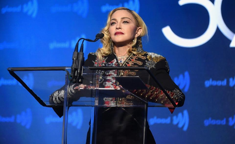 Madonna speaks onstage during the 30th Annual GLAAD Media Awards New York at New York Hilton Midtown on May 04, 2019 in New York City. (Photo: Jamie McCarthy/Getty Images for GLAAD)