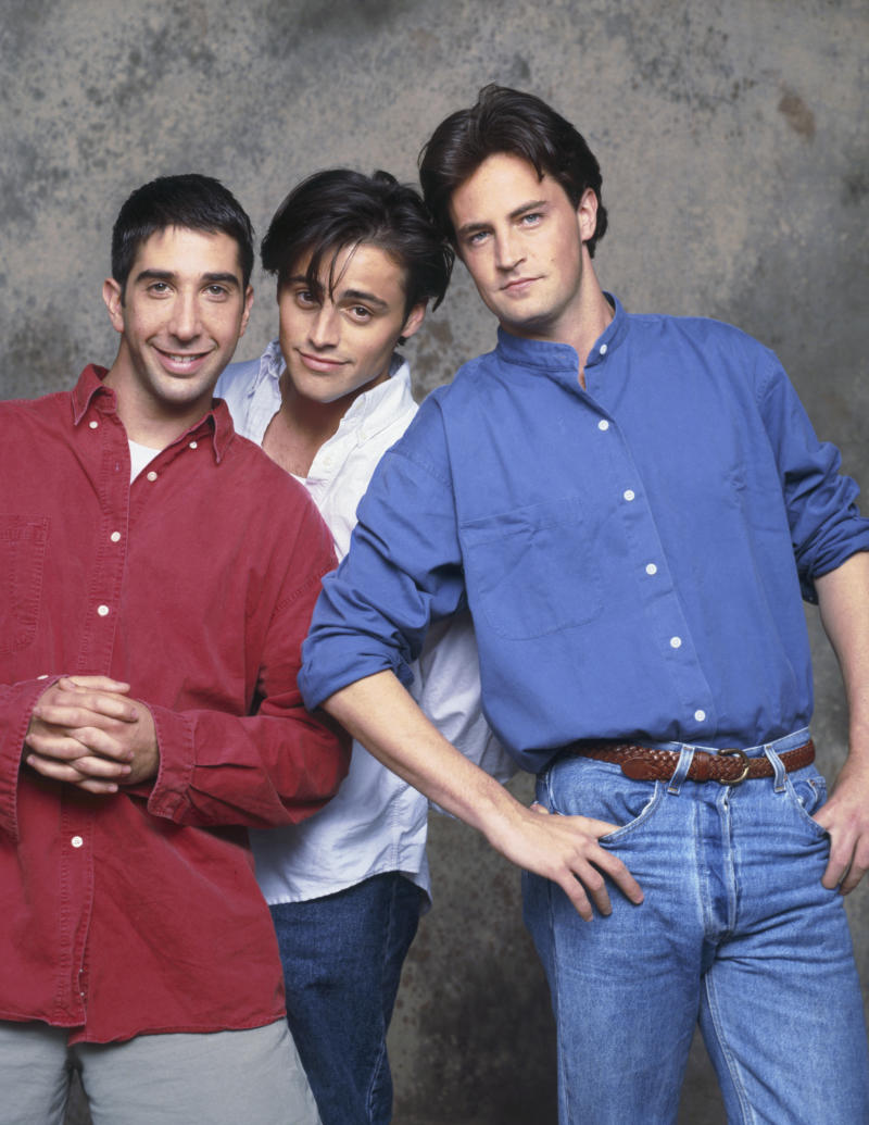 FRIENDS -- Pictured: (l-r) David Schwimmer as Ross Geller, Matt LeBlanc as Joey Tribbiani, Matthew Perry as Chandler Bing -- (Photo by Reisig & Taylor/NBC/NBCU Photo Bank via Getty Images)