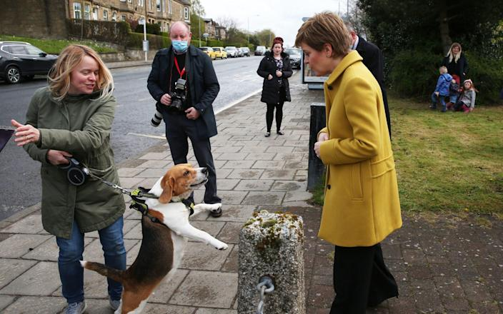 Scottish First Minister and SNP leader Nicola Sturgeon during a visit to Airdrie, North Lanarkshire - Andrew Milligan/PA