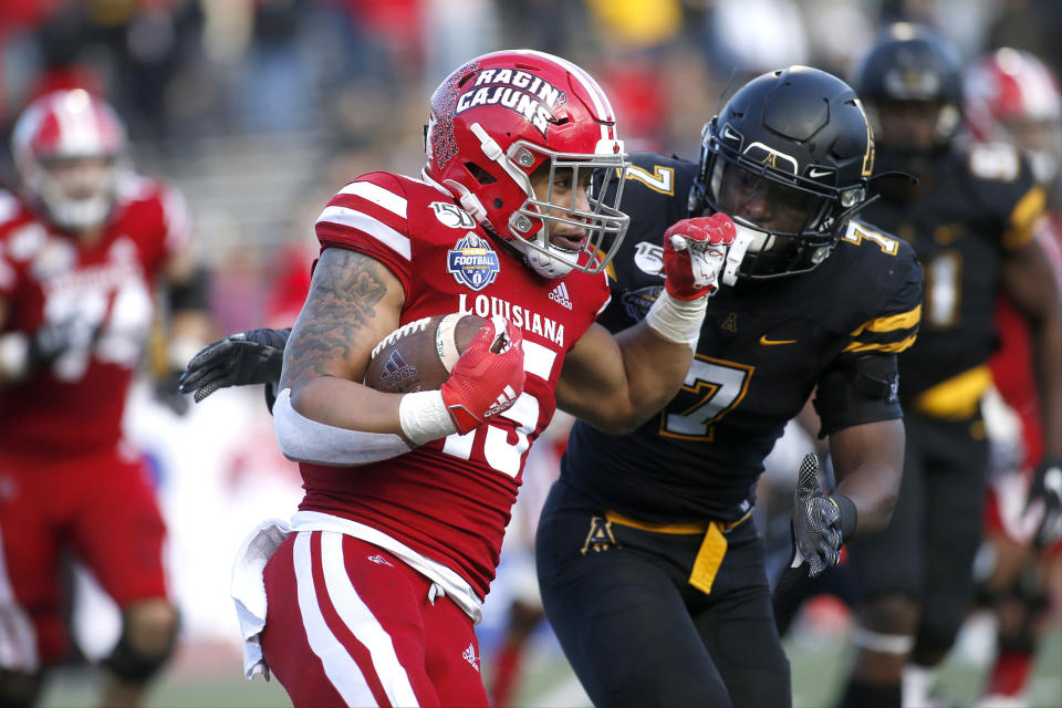 Louisiana-Lafayette running back Elijah Mitchell rushed for over 1,000 yards this season. (AP Photo/Brian Blanco)