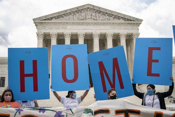 PHOTO: DACA recipients and their supporters rally outside the U.S. Supreme Court, June 18, 2020, in Washington, DC. (Drew Angerer/Getty Images)