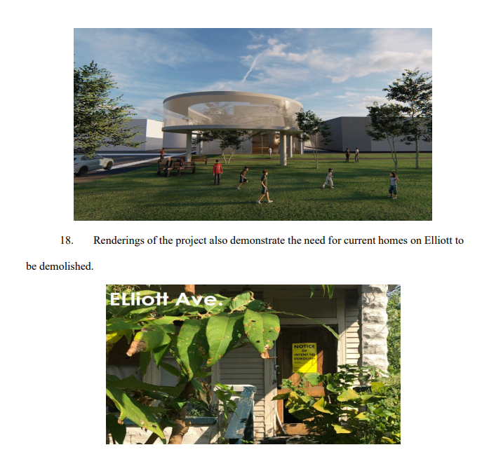 Renderings included in a court filing by Breonna Taylor's family show Elliott Avenue and a run-down home.