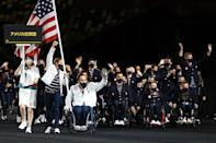 <p>Team USA's flagbearers included Chuck Aoki and Melissa Stockwell.</p>