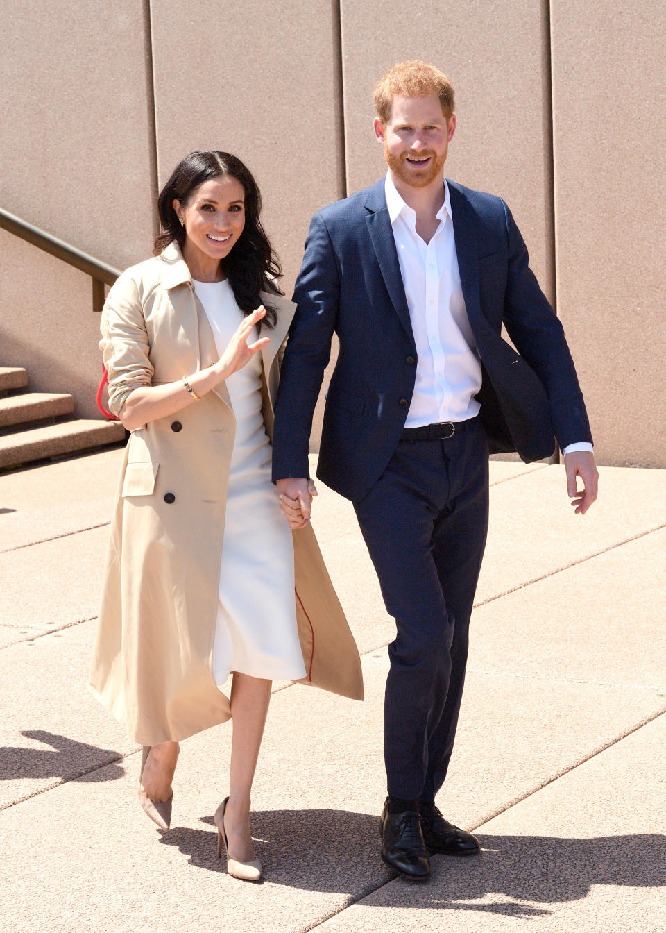 Prince Harry, Duke of Sussex and Meghan, Duchess of Sussex meet members of the public outside the Sydney Opera House on October 16, 2018 in Sydney, Australia.