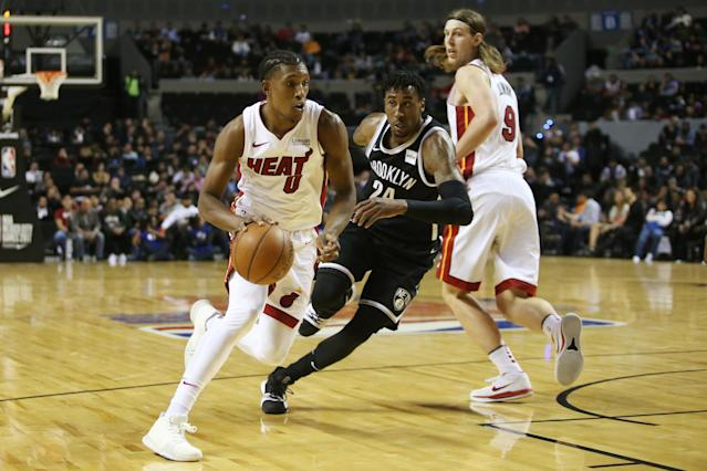 Basketball - NBA Global Games - Brooklyn Nets v Miami Heat - Arena Mexico, Mexico City, Mexico December 9, 2017. Josh Richardson of Miami Heat and Rondae Hollis-Jefferson of Brooklyn Nets in action. REUTERS/Edgard Garrido