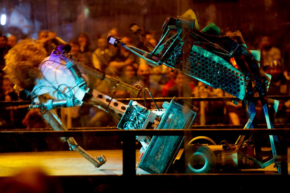 BIRMINGHAM, ENGLAND - NOVEMBER 19:  Robots clash at the Robot Wars Live show ahead of the new season of the hit TV show on The BBC during day 1 of the November Birmingham MCM Comic Con at the National Exhibition Centre (NEC) in Birmingham, UK on November 19, 2016 in Birmingham, England.  (Photo by Ollie Millington/WireImage)