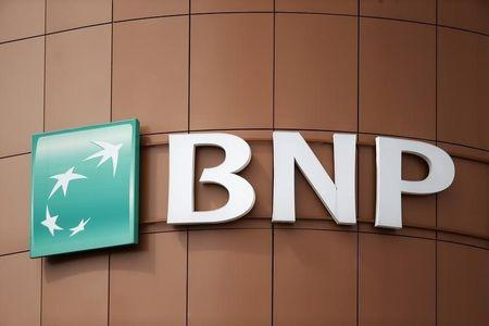 The logo of BNP Paribas is seen on top of the bank company's building in Fontenay-sous-Bois, east of Paris
