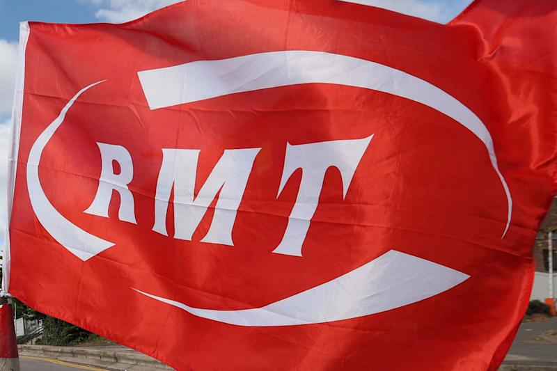 A Rail, Maritime and Transport (RMT) union flag (PA)
