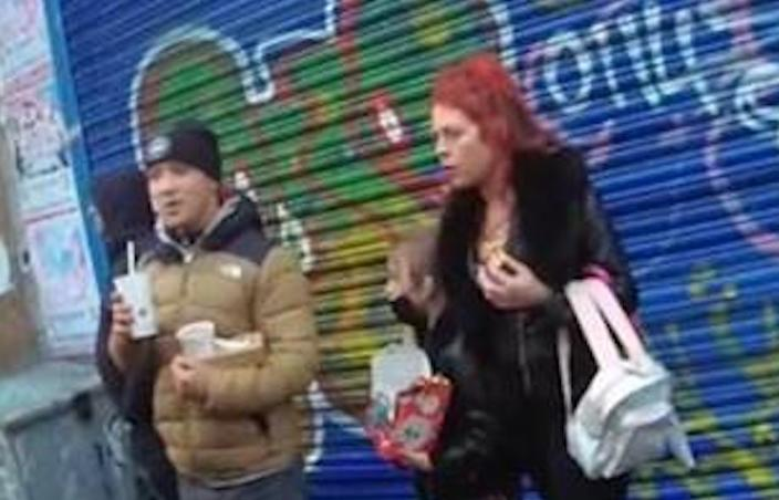 Tiolah is pictured in between the unknown man and Annmarie Lawton in East Street, Bedminster, on Wednesday. (Avon and Somerset Police)