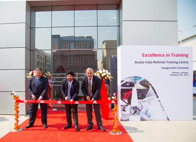 Ribbon cutting at the Axalta India Refinish Training Centre. From left: Vinay Rajadhyaksha - Managing Director, Sobers Sethi - President, Emerging Markets, and Lokender Pal Singh - Refinish Director, South