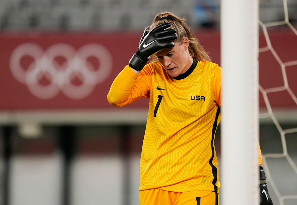 U.S. goalkeeper Alyssa Naeher (1) reacts after a goal by Sweden midfielder Lina Hurtig (not pictured) during the Tokyo 2020 Olympic Games at Tokyo Stadium.