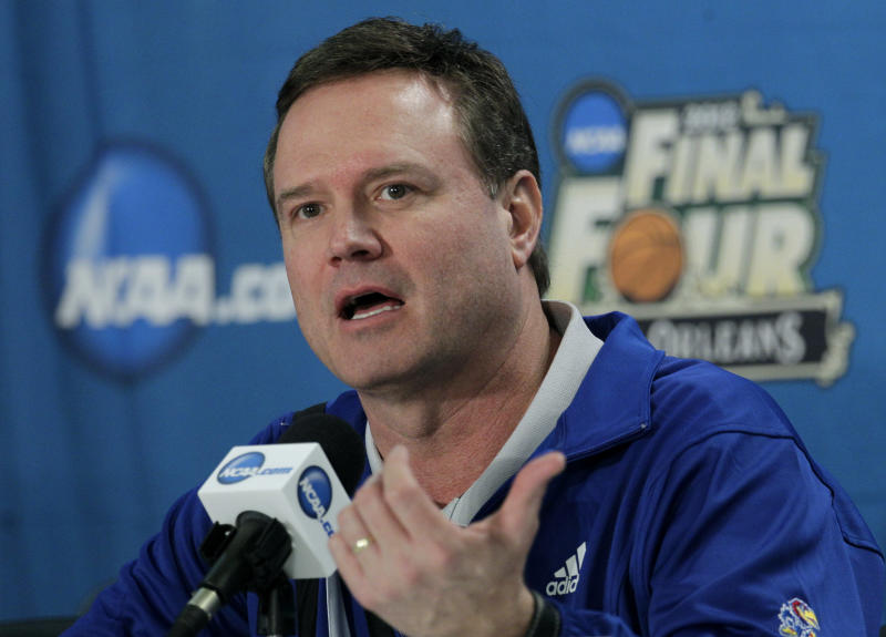 Kansas head coach Bill Self speaks during a news conference for the NCAA Final Four tournament college basketball game Sunday, April 1, 2012, in New Orleans. Kansas plays Kentucky in the championship game Monday night. (AP Photo/Mark Humphrey)