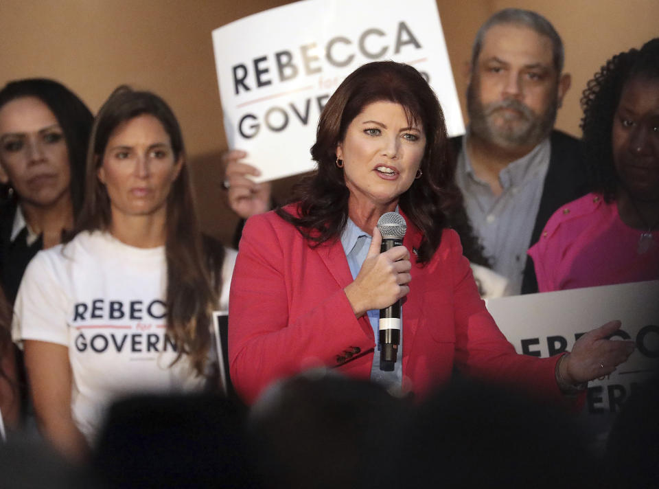 Former Wisconsin Lt. Gov. Rebecca Kleefisch announces her candidacy for office of Governor at Western States Envelope Company in Butler, Wis., Thursday, Sept. 9, 2021. Kleefisch is seeking to take on Gov. Tony Evers next year in a top race for Republicans who control the Wisconsin Legislature but have been blocked by the Democratic incumbent. (John Hart/Wisconsin State Journal via AP)