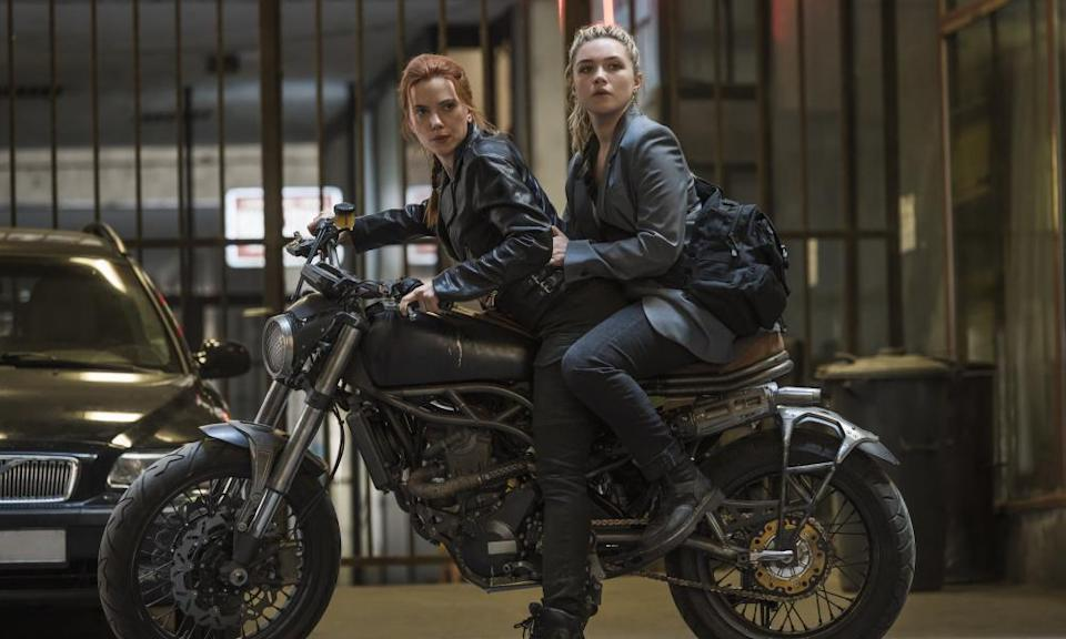 Scarlett Johansson, left, and Florence Pugh in Black Widow.