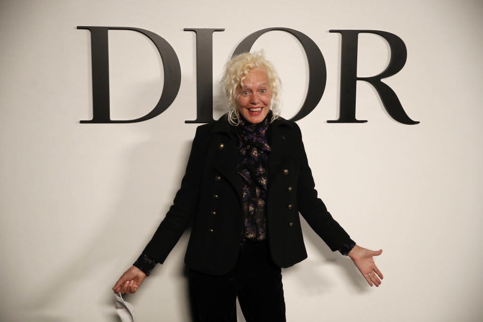 German photographer Ellen von Unwerth poses before Dior's Spring-Summer 2021 fashion collection Tuesday, Sept. 29, 2020 before the show during the Paris fashion week. (AP Photo/Francois Mori)
