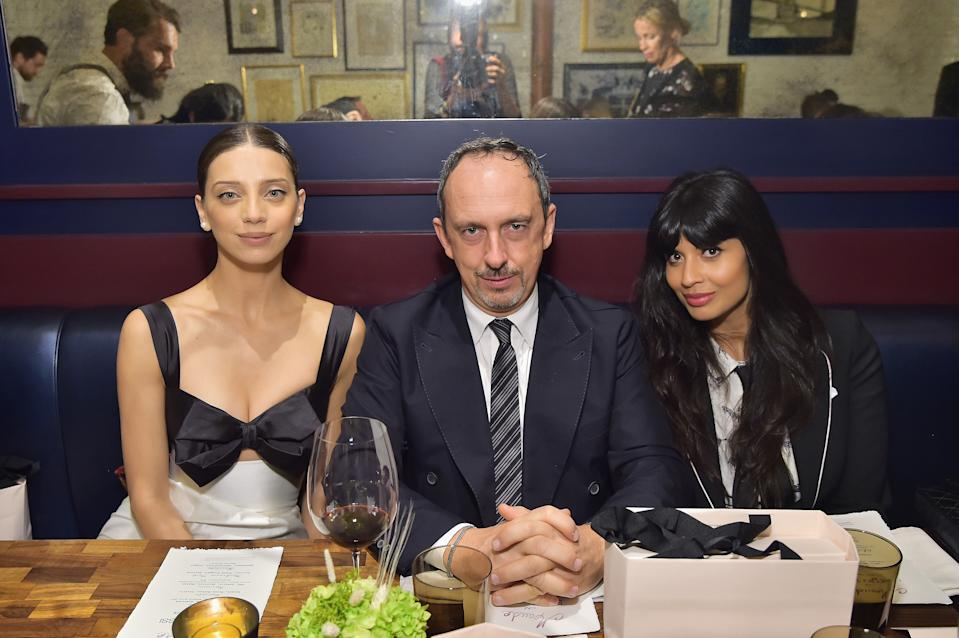 BEVERLY HILLS, CA - JANUARY 17:  (L-R) Angela Sarafyan, Riccardo Sciutto and Jameela Jamil attend Sergio Rossi & Elizabeth Stewart Celebrate Capsule Collection at Pop-Up at Westfield Century City on January 17, 2019 in Beverly Hills, California.  (Photo by Stefanie Keenan/Getty Images for Sergio Rossi )